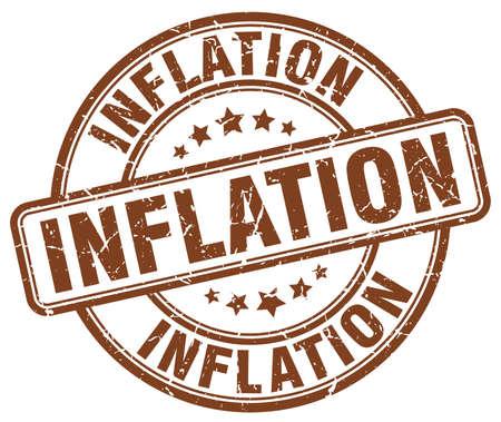 inflation: inflation brown grunge round vintage rubber stamp Illustration