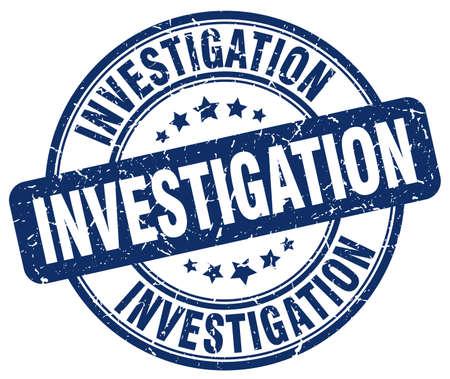 investigations: investigation blue grunge round vintage rubber stamp