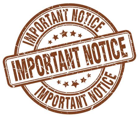 notice: important notice brown grunge round vintage rubber stamp