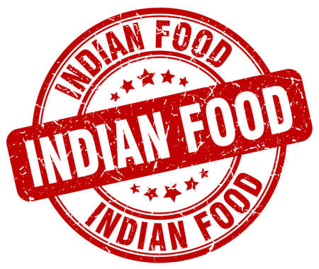 indian food: indian food red grunge round vintage rubber stamp