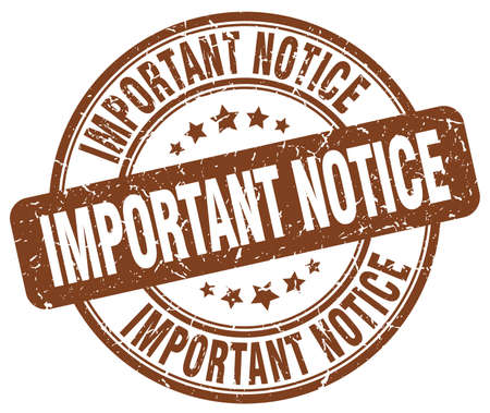 important: important notice brown grunge round vintage rubber stamp