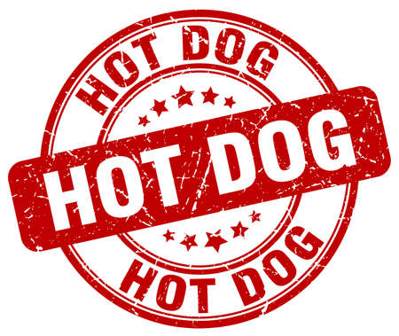 hot dog label: hot dog red grunge round vintage rubber stamp