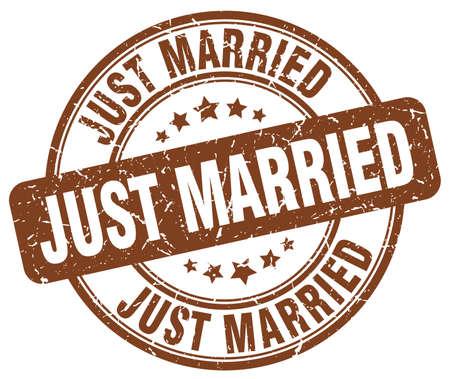 just: just married brown grunge round vintage rubber stamp Illustration