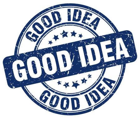good idea: good idea blue grunge round vintage rubber stamp Illustration