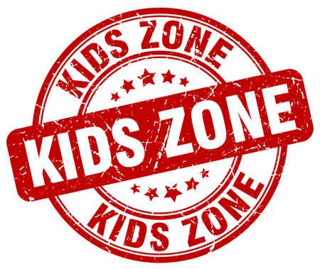 kids zone red grunge round vintage rubber stamp Vetores