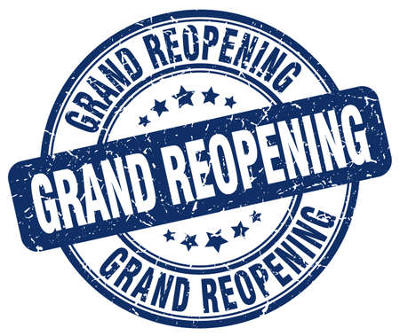grand open: grand reopening blue grunge round vintage rubber stamp