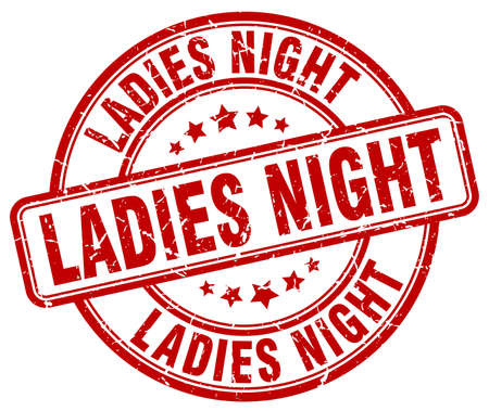 ladies: ladies night red grunge round vintage rubber stamp