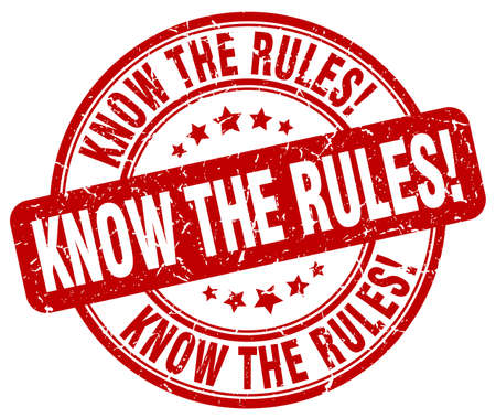 know: know the rules red grunge round vintage rubber stamp Illustration