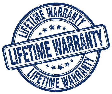 lifetime: lifetime warranty blue grunge round vintage rubber stamp Illustration