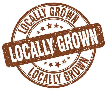 grown: locally grown brown grunge round vintage rubber stamp Illustration