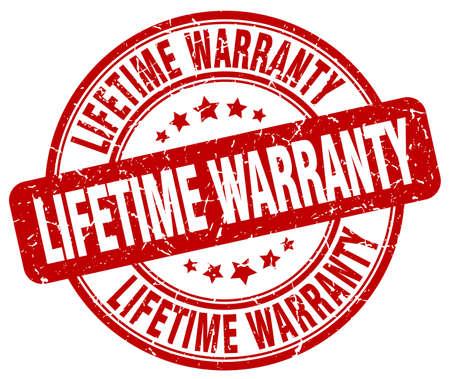 lifetime: lifetime warranty red grunge round vintage rubber stamp