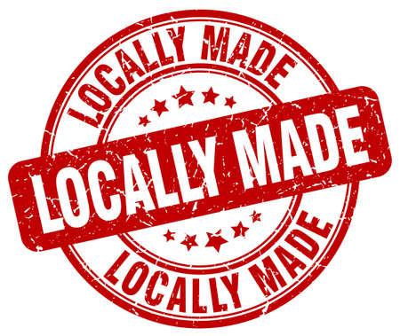 locally: locally made red grunge round vintage rubber stamp Illustration