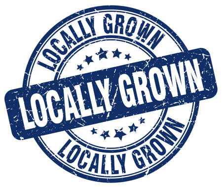 locally: locally grown blue grunge round vintage rubber stamp