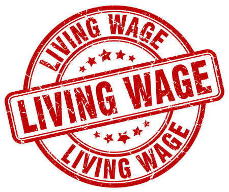 wage: living wage red grunge round vintage rubber stamp
