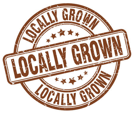 locally: locally grown brown grunge round vintage rubber stamp Illustration