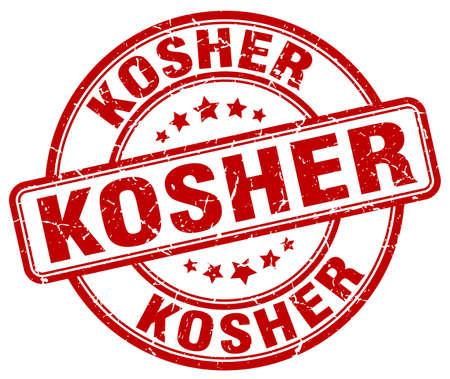 kosher: kosher red grunge round vintage rubber stamp