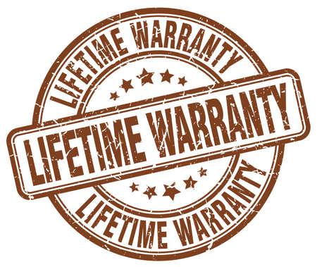 lifetime: lifetime warranty brown grunge round vintage rubber stamp Illustration