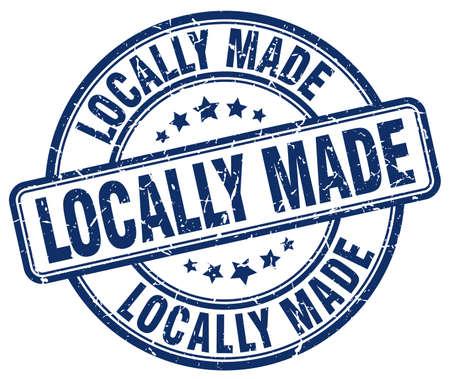 locally: locally made blue grunge round vintage rubber stamp Illustration