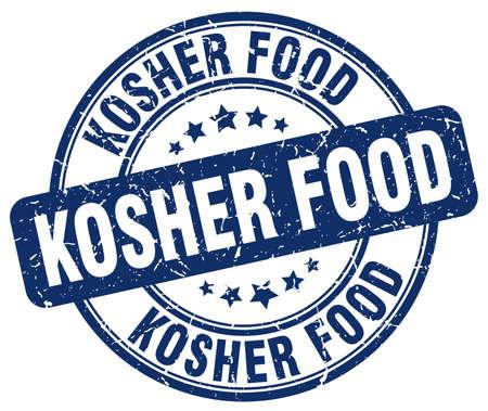 kosher: kosher food blue grunge round vintage rubber stamp Illustration