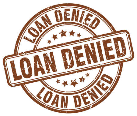 denied: loan denied brown grunge round vintage rubber stamp