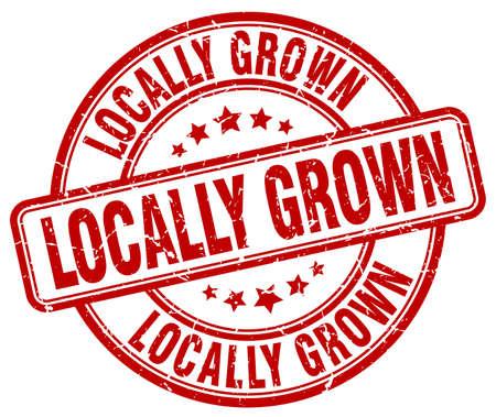 grown: locally grown red grunge round vintage rubber stamp Illustration