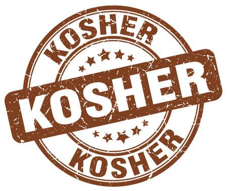 kosher: kosher brown grunge round vintage rubber stamp