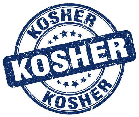 kosher: kosher blue grunge round vintage rubber stamp