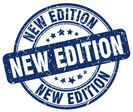edition: new edition blue grunge round vintage rubber stamp