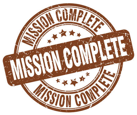accomplish: mission complete brown grunge round vintage rubber stamp Illustration