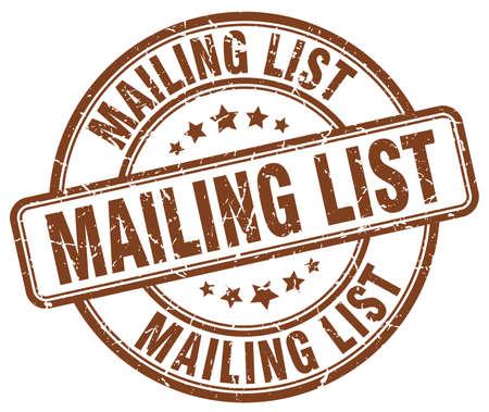 mailing: mailing list brown grunge round vintage rubber stamp