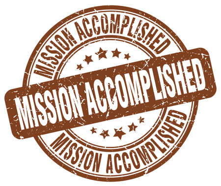 accomplish: mission accomplished brown grunge round vintage rubber stamp