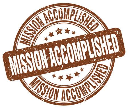 accomplished: mission accomplished brown grunge round vintage rubber stamp