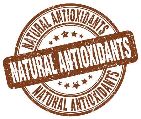 antioxidants: natural antioxidants brown grunge round vintage rubber stamp Illustration