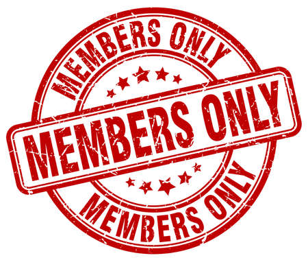 members only: members only red grunge round vintage rubber stamp