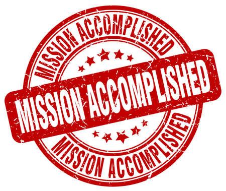mission accomplished red grunge round vintage rubber stamp Vektorové ilustrace