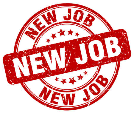 new job: new job red grunge round vintage rubber stamp
