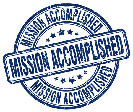 accomplish: mission accomplished blue grunge round vintage rubber stamp Illustration