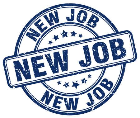 new job: new job blue grunge round vintage rubber stamp Illustration