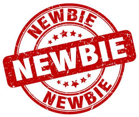 newbie: newbie red grunge round vintage rubber stamp Illustration