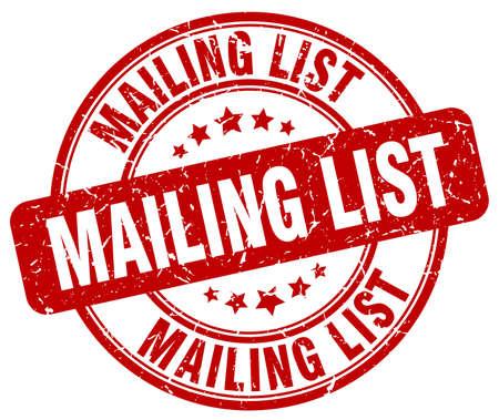 mailing: mailing list red grunge round vintage rubber stamp Illustration