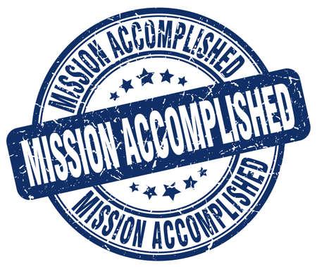 accomplished: mission accomplished blue grunge round vintage rubber stamp Illustration