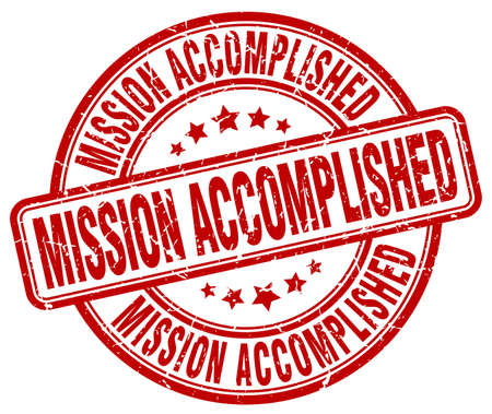 accomplish: mission accomplished red grunge round vintage rubber stamp Illustration