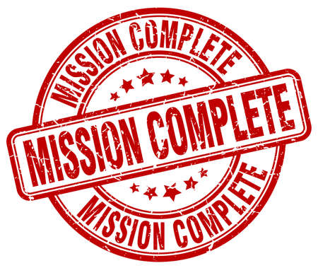 accomplish: mission complete red grunge round vintage rubber stamp
