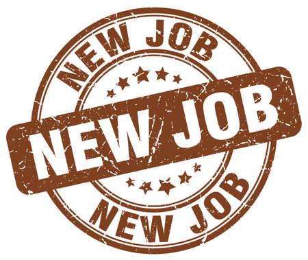 new job: new job brown grunge round vintage rubber stamp Illustration
