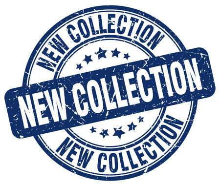 new collection blue grunge round vintage rubber stamp