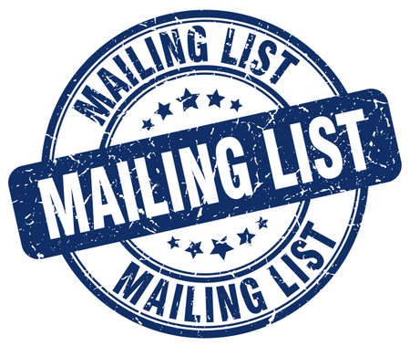 mailing: mailing list blue grunge round vintage rubber stamp Illustration