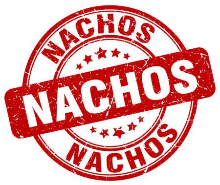 nachos red grunge round vintage rubber stamp Vector Illustration