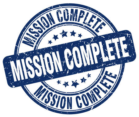 accomplish: mission complete blue grunge round vintage rubber stamp