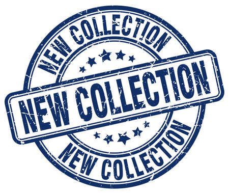 new collection: new collection blue grunge round vintage rubber stamp Illustration