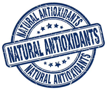 antioxidants: natural antioxidants blue grunge round vintage rubber stamp